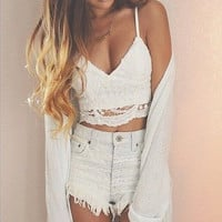 Women Crochet Crop Top Sexy Tops Short Shirt Camis Vest Bustier Crochet Crop Summer Women Deep V Neck Lady Camis Tees