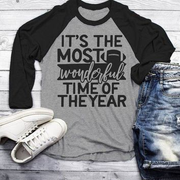 Men's Football T Shirt Most Wonderful Time Of Year Raglan 3/4 Sleeve Game Day Shirts