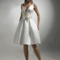 A-line V-neck Hand-Made Flower Sleeveless Knee-length Satin Wedding Dresses For Brides @YSP0077 | $99.99 | Maryswill.com.