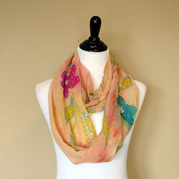 Infinity Scarf: Upcycled Indian Sari Twisted Loop Scarf, Floral Scarf, Chunky Circle Scarf, Snood OOAK