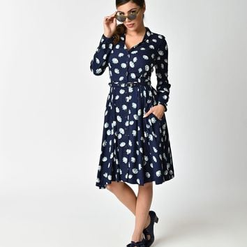 1930s Style Navy Blue Lotus Flower Paige Button Down Dress