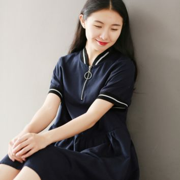 RETRO NAVY BLUE LOOSE LARGE SIZE COTTON / HEMP SHORT SLEEVE DRESS TIDE