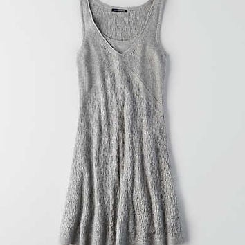 AEO Pointelle Tank Sweater Dress , Light Heather