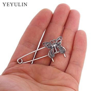 10pcs Vintage Silver Charm Safety Pins Butterfly Brooches For Women Scarf Decoration Jewelry Clothes Accessories DIY Findings