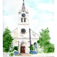 Watercolor art print, architectural art, white country church, Texas church, print from original art, small town art, wall art, wall decor,