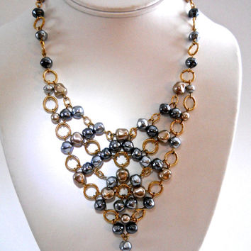Bib Necklace Glass Pearl Link, STRONGWATER STUDIO Jay Feinberg, Grey & Beige Pearls, Vintage