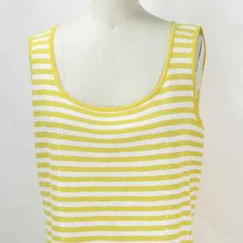 ST. JOHN Yellow and White Stripe with Paillettes Tank Top Shell Size M