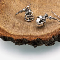 Peter Pan Kiss Earrings with Thimble & Acorn Charms (Silver Tone, Dangle, Mismatched)