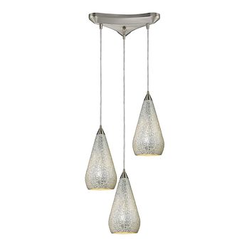 Curvalo 3 Light Pendant In Satin Nickel And Silver Crackle Glass