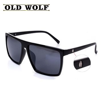 OLD WOLF Fashion Man Sunglasses Men Brand Designer Mirror Photochromic Sunglasses Male vintage Sun glasses With Head Logo oculos