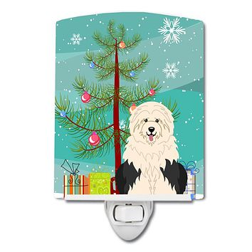 Merry Christmas Tree Old English Sheepdog Ceramic Night Light BB4221CNL