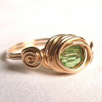 Swarovski Green Gold Scroll Ring, Gold Filled Ring, Wire Wrap Ring Jewelry Handmade, Green Gold Ring, Swarovski Ring Jewelry