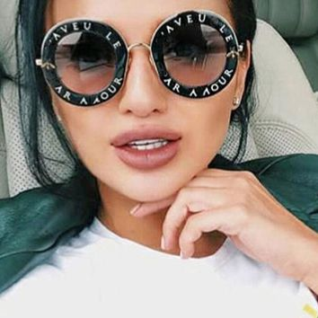 Retro Round Sunglasses English Letters Metal Frame Circle Bee