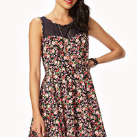FOREVER 21 Floral A-Line Dress Dark Navy/Pink