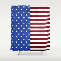 Stars And Stripes-American Flag On Fabric Texture Shower Curtain by Inspired By Fashion