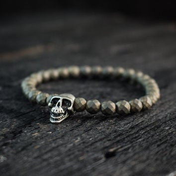 Bronze plated hematite beaded bracelet with silver skull bead, made to order yoga bracelet, mens bracelet, womens bracelet
