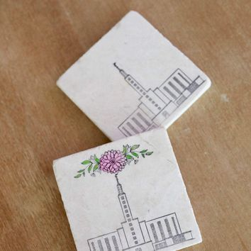 Los Angeles LDS Mormon Temple Marble Coasters