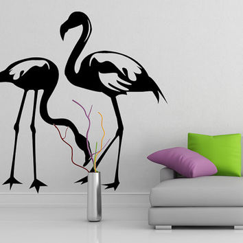 Flamingo Couple Tropical Bird silhouette, Vinyl Wall Sticker, Romantic Love Birds Decor Art Decal Bedroom or Living Room. DIY Design Mural