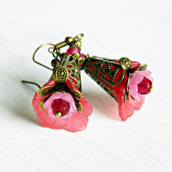 Pink Flower earrings, Pink Bohemian earrings, Boho wedding earrings, Hippie, Gypsy jewelry, Pink Boho earrings, Foxgloves dangles