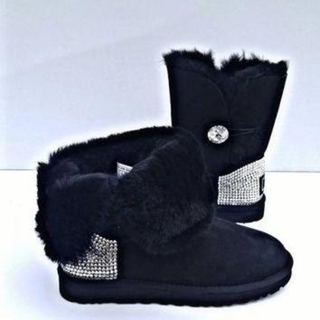 DCCK8X2 Free Shipping!, UGG boots, Swarovski button UGGS, Womens Uggs, Blinged out UGG boots,