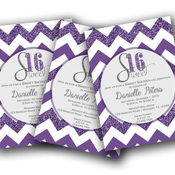 Trendy Purple Sweet 16 Invitation - Chevron Teen Girl Party Invite Sweet Sixteen - Glittery Sweet Sixteen - Purple Glitter - Bling - Elegant