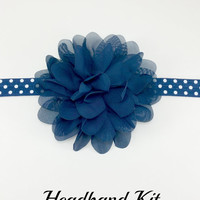 Navy blue polka dot headband kit, DIY headband kit, Baby girl headband kit, Christmas flower headband kit, Baby shower headband making kit