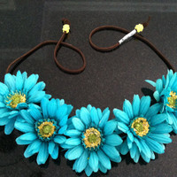 Teal Daisy Flower Headband, Flower Crown, Flower Halo, Festival Wear, EDC, Ultra Music Festival, Ezoo, Coachella