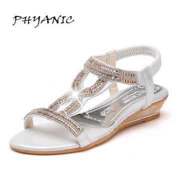 PHYANIC Women's Sandals For 2017 New Crystal Summer Shoes Woman Platform Wedges Med He
