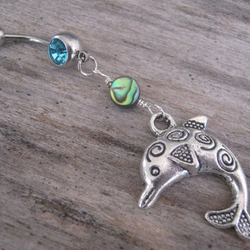 Dolphin Abalone Belly Ring, Dolphin Belly Button Ring, Personalized Birthstone Navel Piercing, Beach Ocean Body Jewelry, Nautical Navel Ring