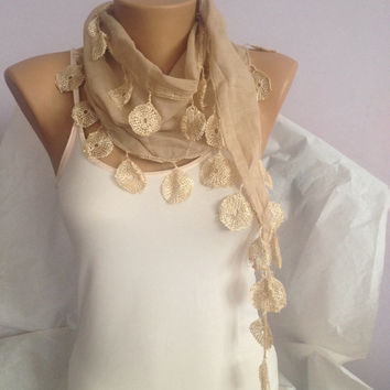 Light Brown Scarf - Brown Lace Scarf - Circle Scarf - Cotton Scarves - Elegant Scarf