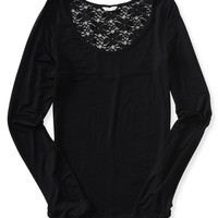 Aeropostale  Long Sleeve Lace Back Bodycon Top