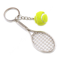 New Fashion Men Women Unisex Tennis Racket Pendant Key Chain Key Ring
