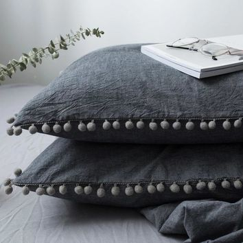 Enipate 1pc Solid Cotton Color Pillow Case Home Bedding Super Soft Pom Tassel Dot Pillow Cover Wedding Gift Design Pillowcase