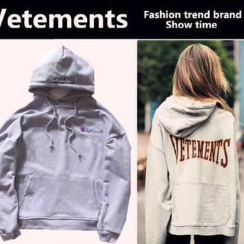 Trendy  Vetements Print Long Sleeve Hoodies Pullover Sweaters