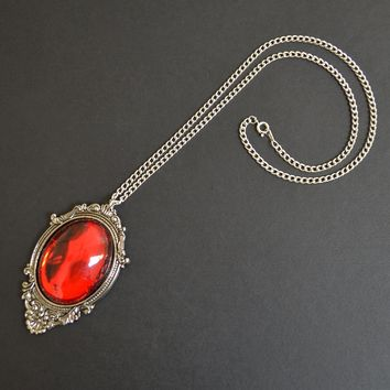 Blood Red Cabochon in Silver Finish Pewter Frame Pendant Necklace