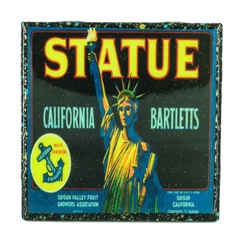 Handmade Coaster Statue of Liberty Brand - Vintage Citrus Crate Label - Handmade Recycled Tile Coaster