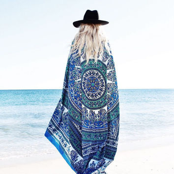 Spring Ocean Blues Dreamer Sarong Beach Boho Pareo Wrap Blanket Wall Hanging Tapestry Beach Bohemian Cover Up Chiffon