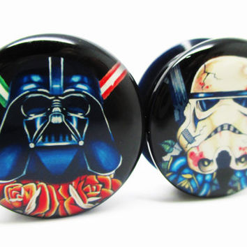 Star Wars Darth Vader & Storm Trooper Ear Plugs - Acrylic Screw-On - 10 Sizes - Brand New *Pair*