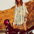 2014 Vintage Hippie Boho Embroidery Floral Lace Crochet Mini Party Dress Tops
