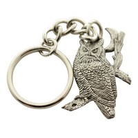 Great Horned Owl and Moon Keychain ~ Antiqued Pewter ~ Keychain