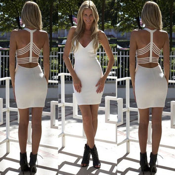 Sexy tight package buttocks backless dress L861354