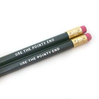 Use The Pointy End Pencils Set of 2 - Game of Thrones Quote in Dark Gray