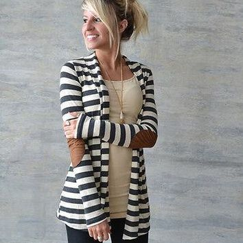 Ladies stripe patch elbow open cardigan sweater