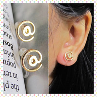 IT @ Sign Clip on Earring,  At Symbol Non Pierced earring, C45s, Gold plate invisible clip on stud earring, better than magnetic earring