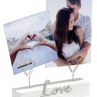 "Malden ""Love"" White Wood Block Clip Photo Holder"
