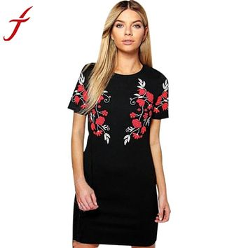 Flower Printing Dress Women Ladies Short Sleeve Mini Dress