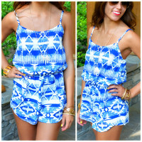 Isla Cancun Blue Ethnic Print Button Down Romper