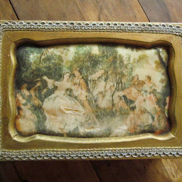 Jewelry Box Vintage 60s wood jewel box Mad Men decor silk fabric antique gold Rococo French 1700s dancers fashion painting made in Japan