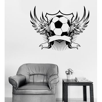 Large Wall Vinyl Decal Soccer Ball Emblem with Wings Football Sticker (n1086)