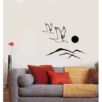 Vinyl Wall Decal Storks Fly Birds Japanese Nature Landscape Stickers (3882ig)